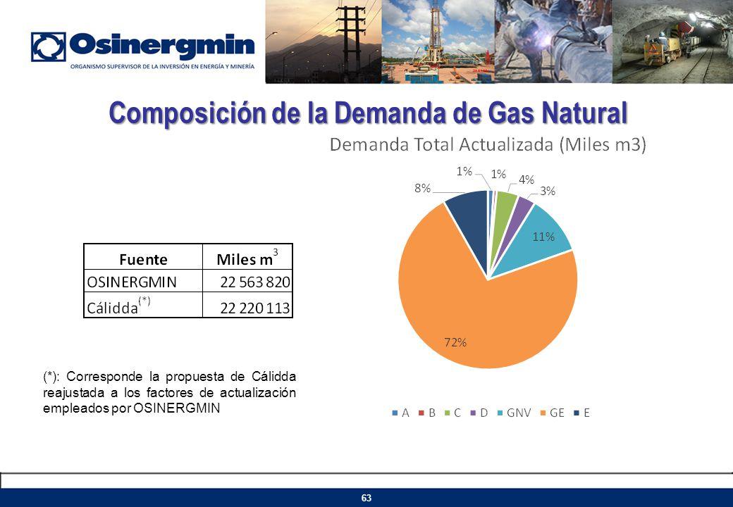 Composición de la Demanda de Gas Natural