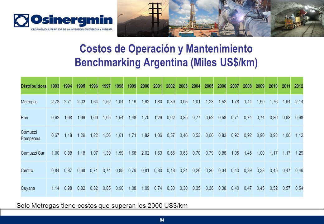 Costos de Operación y Mantenimiento Benchmarking Argentina (Miles US$/km)
