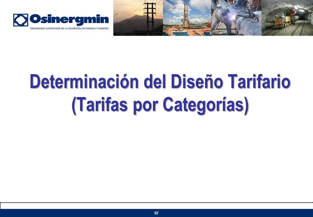 Determinación del Diseño Tarifario (Tarifas por Categorías)