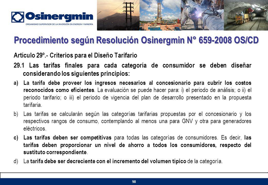 Procedimiento según Resolución Osinergmin N° 659-2008 OS/CD