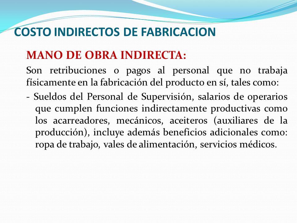 COSTO INDIRECTOS DE FABRICACION