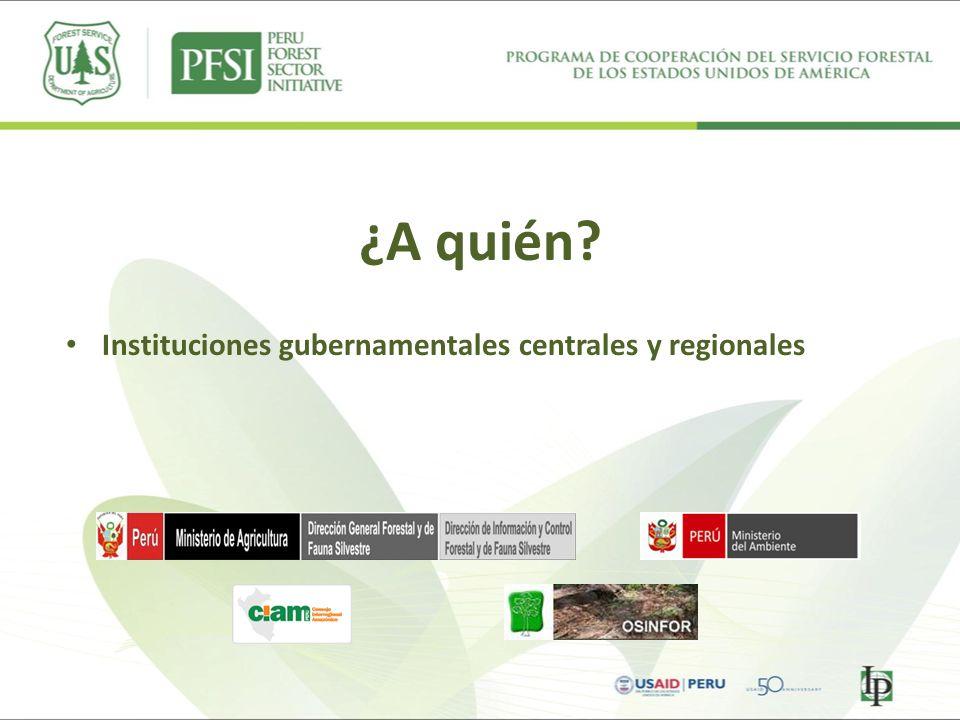 ¿A quién Instituciones gubernamentales centrales y regionales