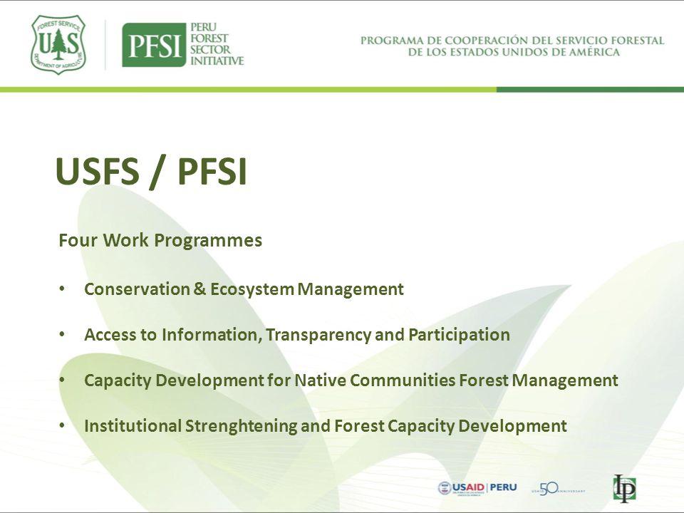 USFS / PFSI Four Work Programmes Conservation & Ecosystem Management