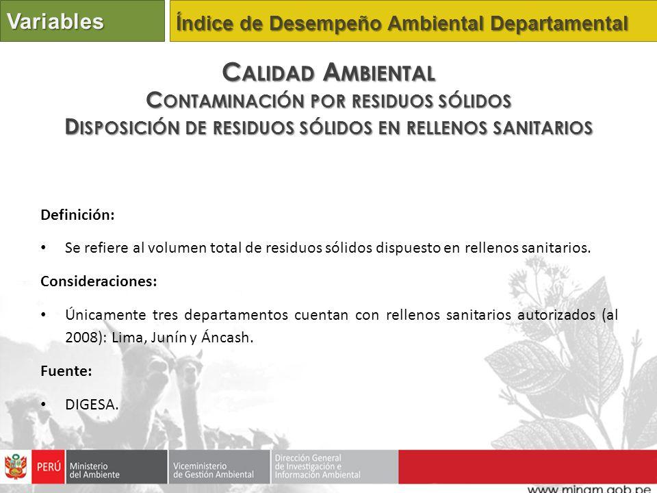 Calidad Ambiental Variables Contaminación por residuos sólidos