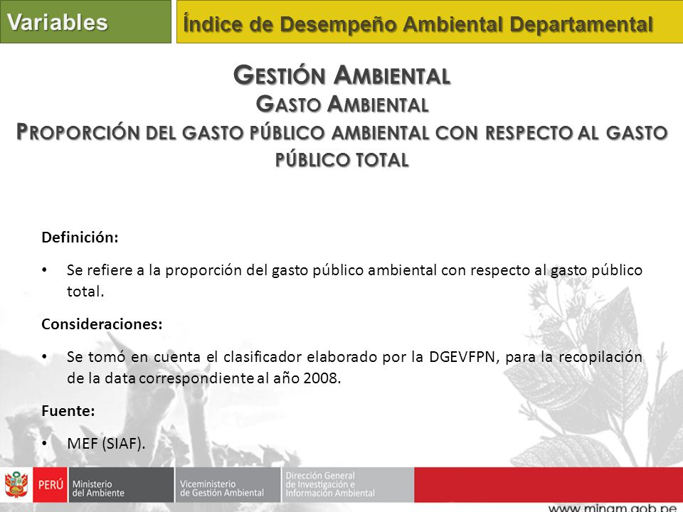 Gestión Ambiental Variables Gasto Ambiental