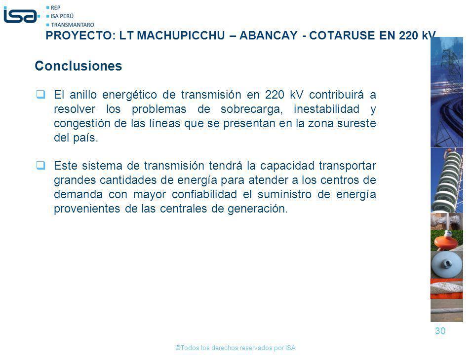 Conclusiones PROYECTO: LT MACHUPICCHU – ABANCAY - COTARUSE EN 220 kV