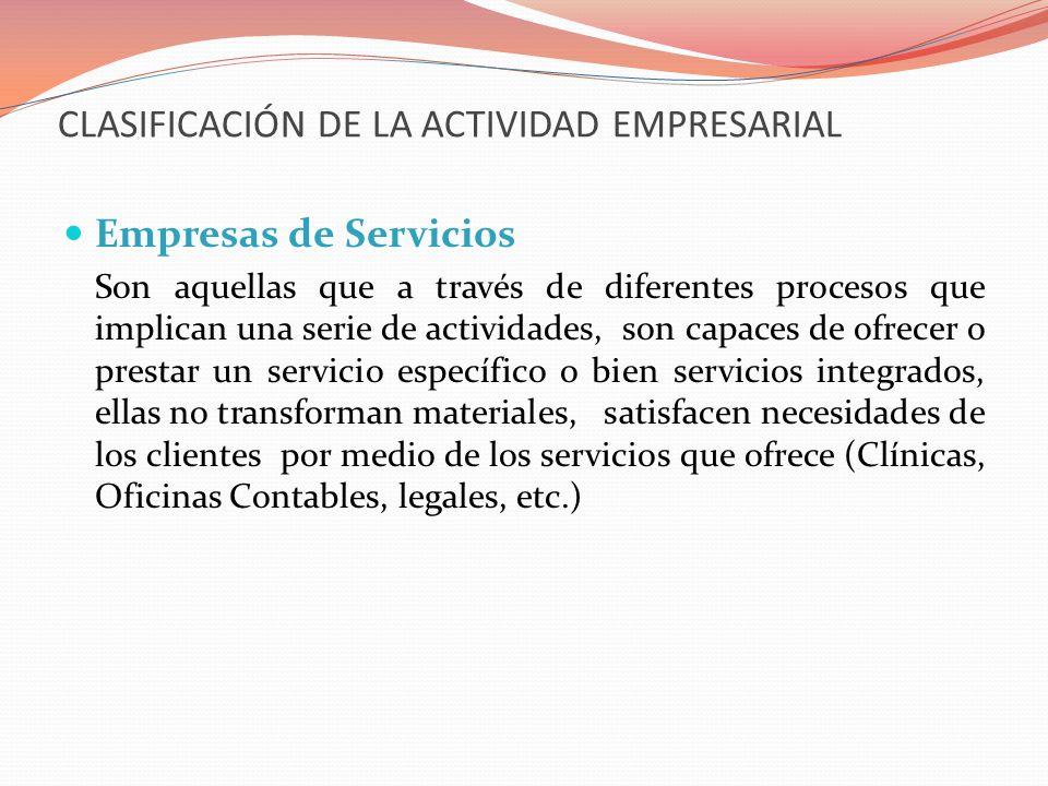 CLASIFICACIÓN DE LA ACTIVIDAD EMPRESARIAL