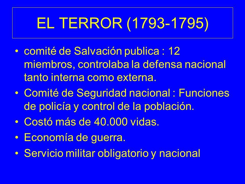 EL TERROR (1793-1795) comité de Salvación publica : 12 miembros, controlaba la defensa nacional tanto interna como externa.