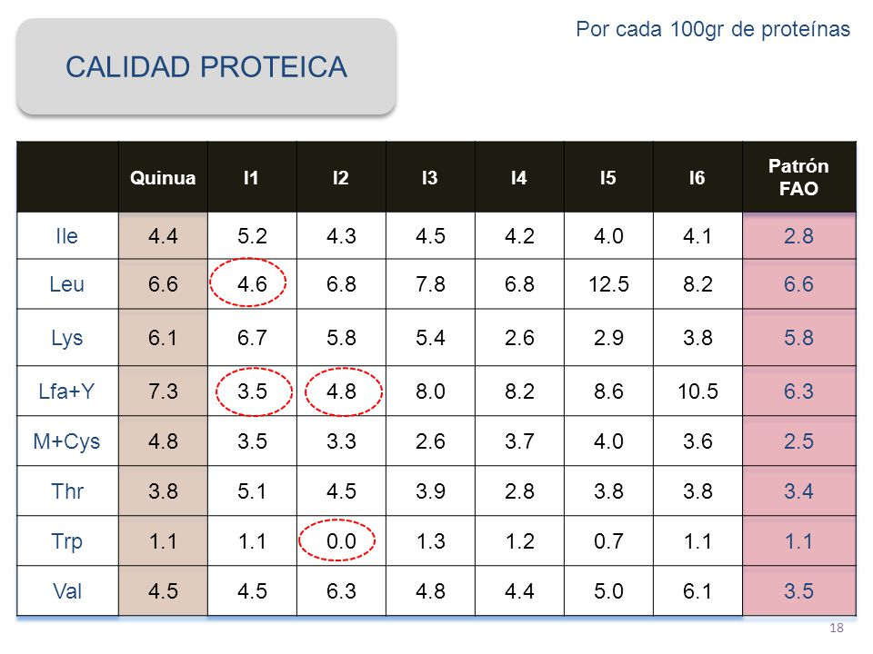 CALIDAD PROTEICA Por cada 100gr de proteínas Ile 4.4 5.2 4.3 4.5 4.2