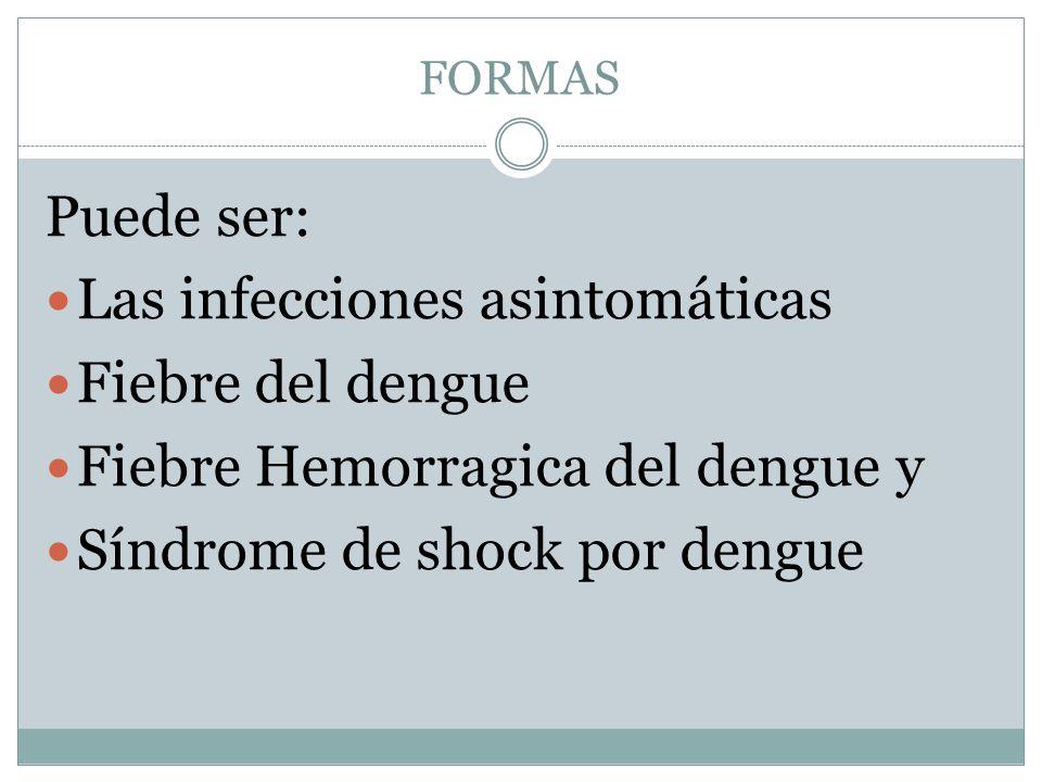 Las infecciones asintomáticas Fiebre del dengue