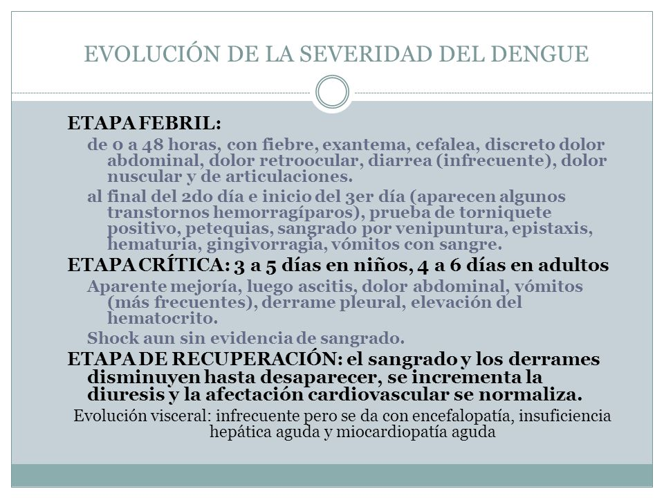 EVOLUCIÓN DE LA SEVERIDAD DEL DENGUE