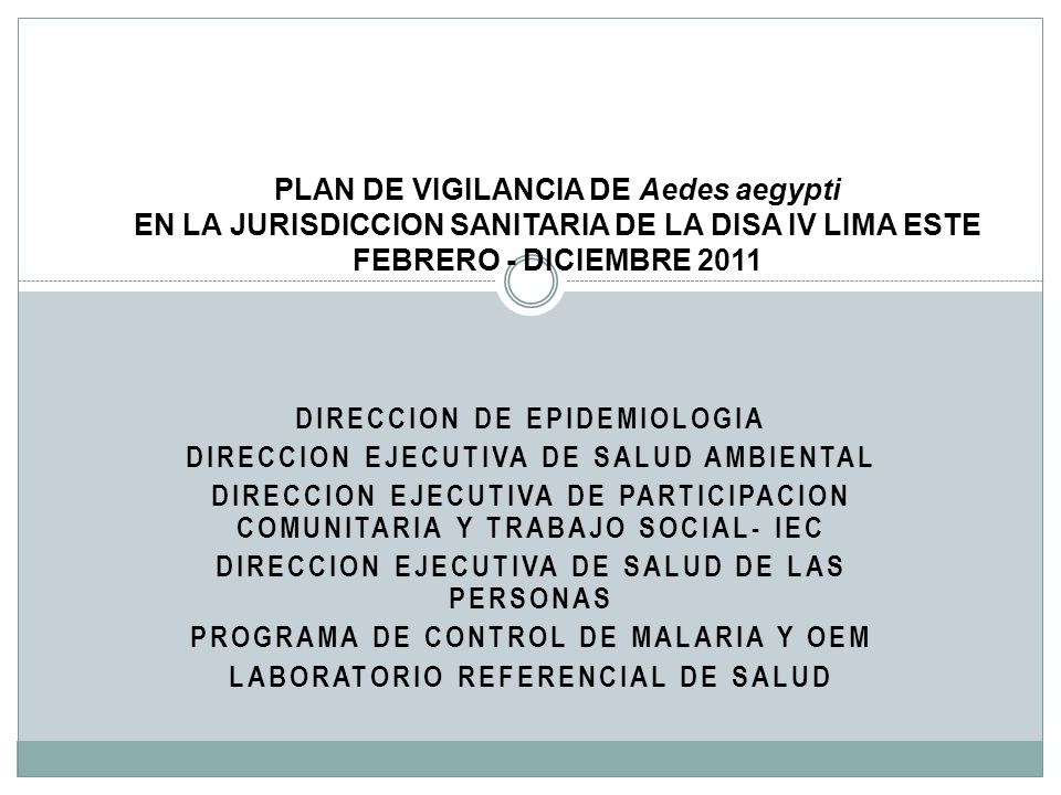 DIRECCION DE EPIDEMIOLOGIA DIRECCION EJECUTIVA DE SALUD AMBIENTAL