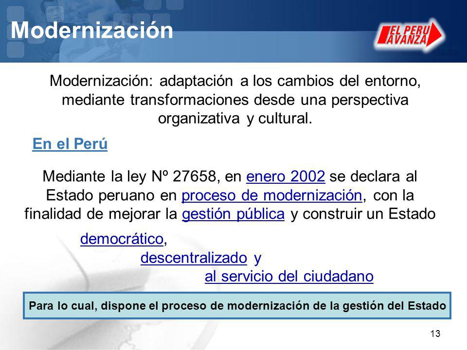 Modernización Modernización: adaptación a los cambios del entorno, mediante transformaciones desde una perspectiva organizativa y cultural.