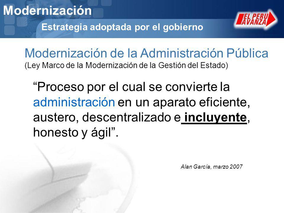 Modernización Estrategia adoptada por el gobierno