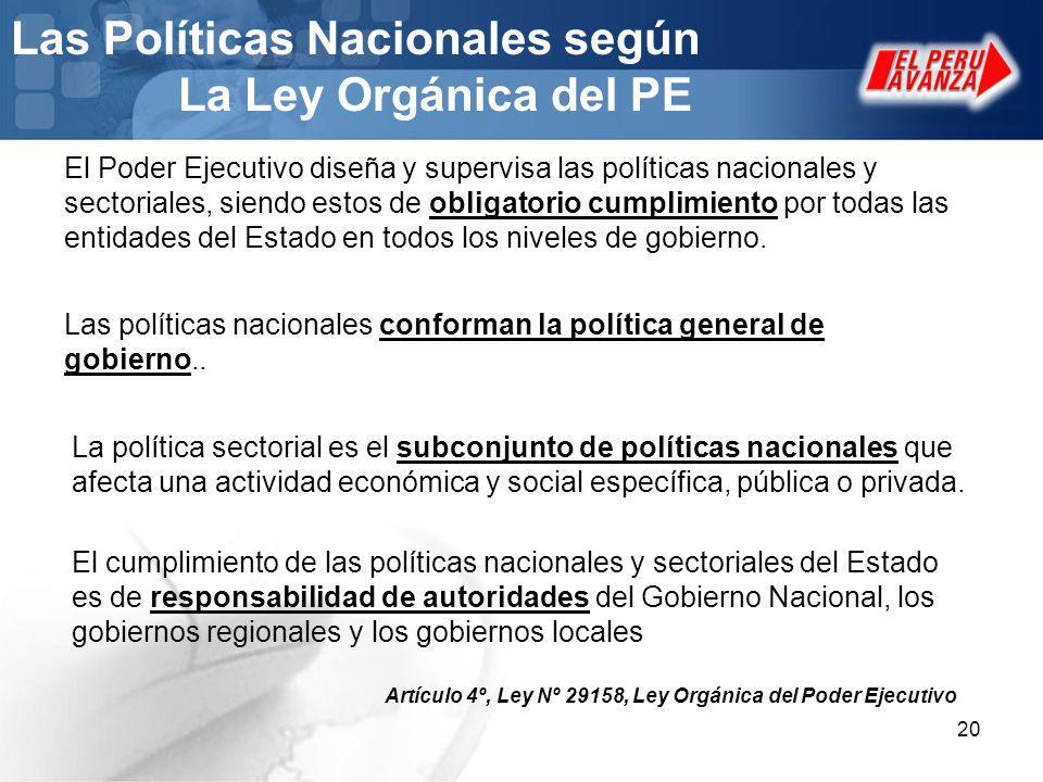 Las Políticas Nacionales según La Ley Orgánica del PE