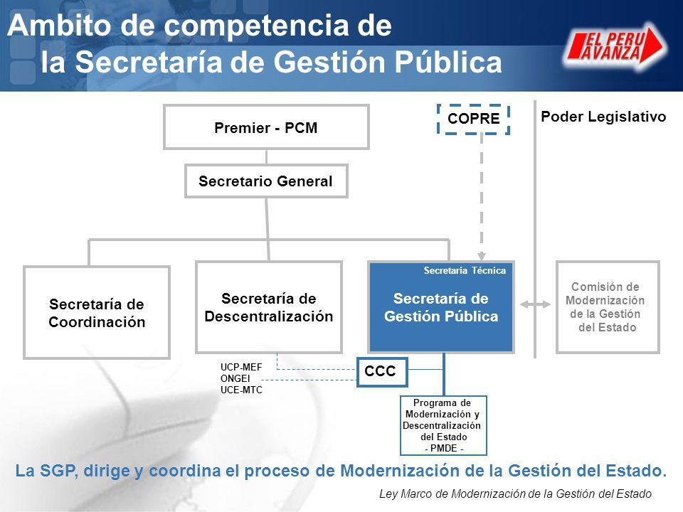 Ambito de competencia de la Secretaría de Gestión Pública