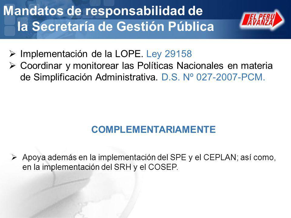 Mandatos de responsabilidad de la Secretaría de Gestión Pública
