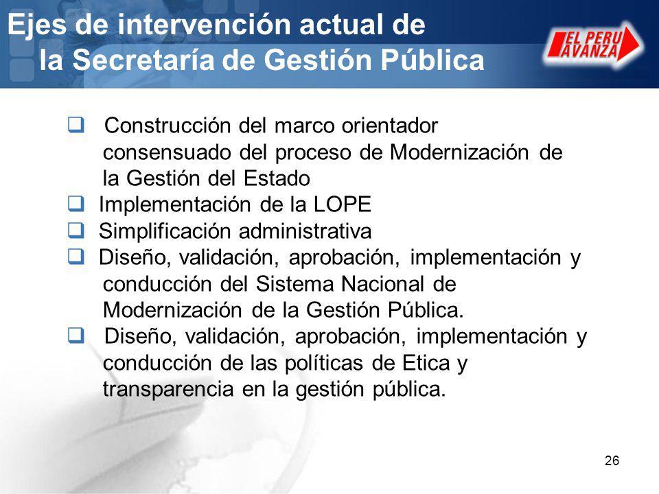 Ejes de intervención actual de la Secretaría de Gestión Pública