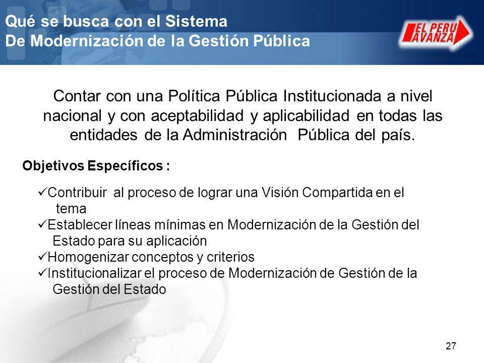 Qué se busca con el Sistema De Modernización de la Gestión Pública