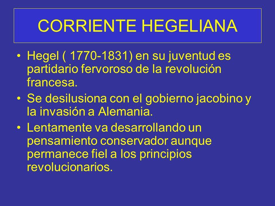 CORRIENTE HEGELIANA Hegel ( 1770-1831) en su juventud es partidario fervoroso de la revolución francesa.