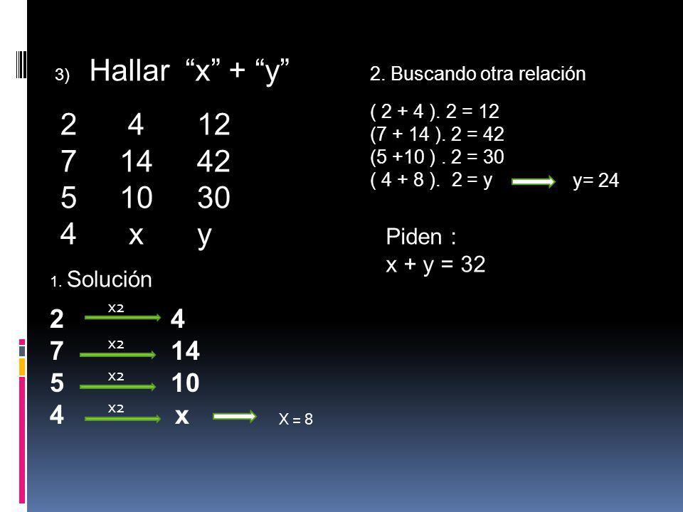 3) Hallar x + y 2. Buscando otra relación. ( 2 + 4 ). 2 = 12. (7 + 14 ). 2 = 42. (5 +10 ) . 2 = 30.