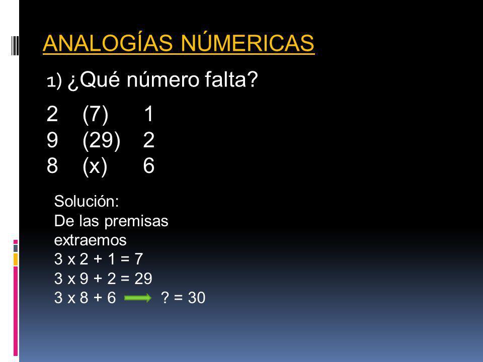 ANALOGÍAS NÚMERICAS 1) ¿Qué número falta (7) 1 (29) 2 8 (x) 6