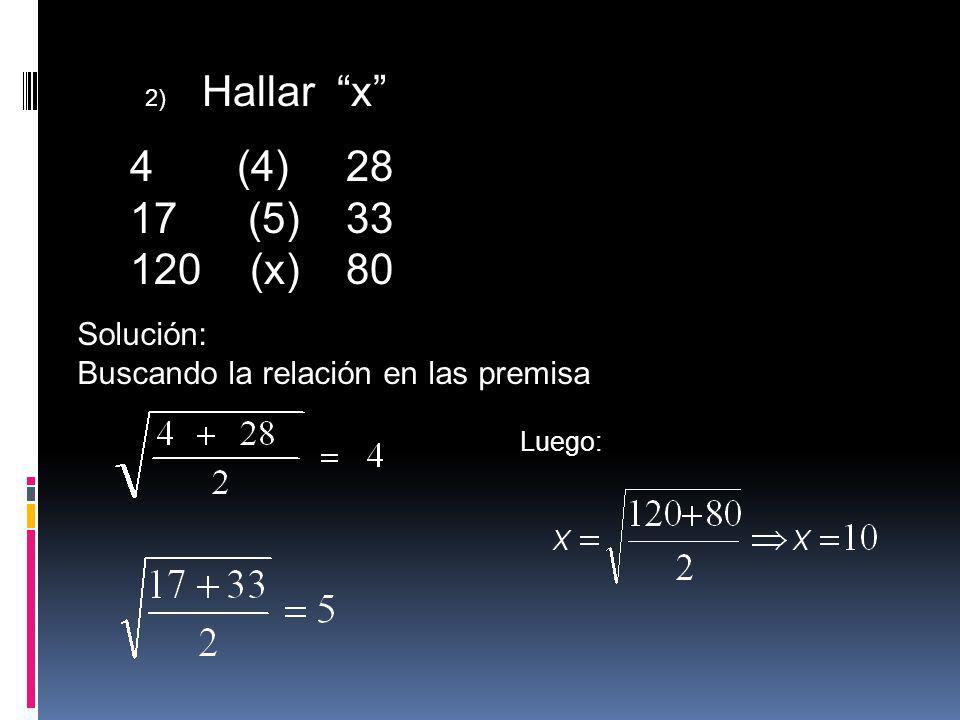 (4) 28 (5) 33 120 (x) 80 Solución: Buscando la relación en las premisa