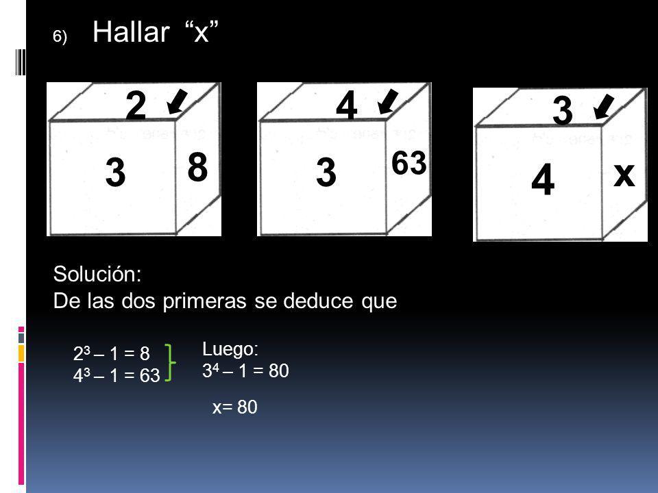 4 3 8 2 3 4 x 3 63 Solución: De las dos primeras se deduce que Luego: