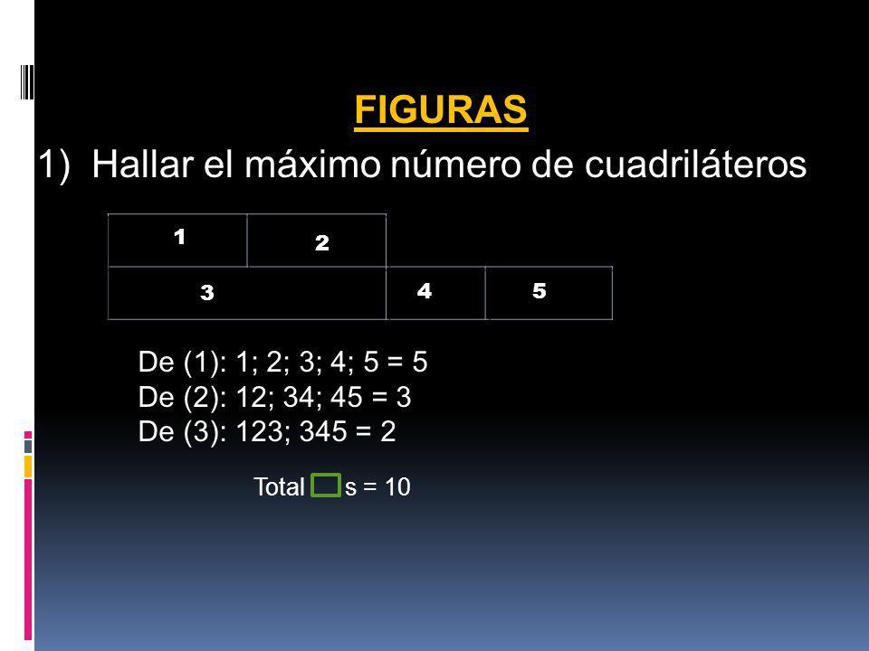 1) Hallar el máximo número de cuadriláteros