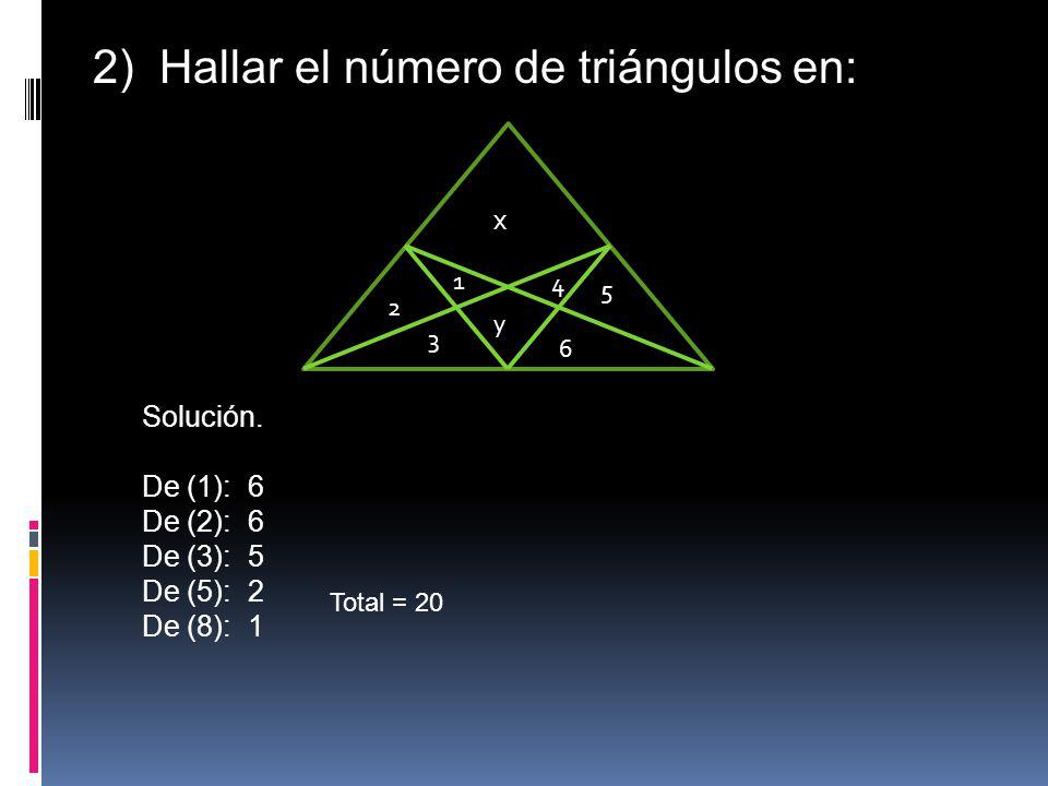 2) Hallar el número de triángulos en: