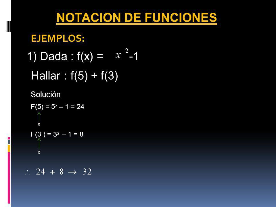 NOTACION DE FUNCIONES 1) Dada : f(x) = -1 Hallar : f(5) + f(3)
