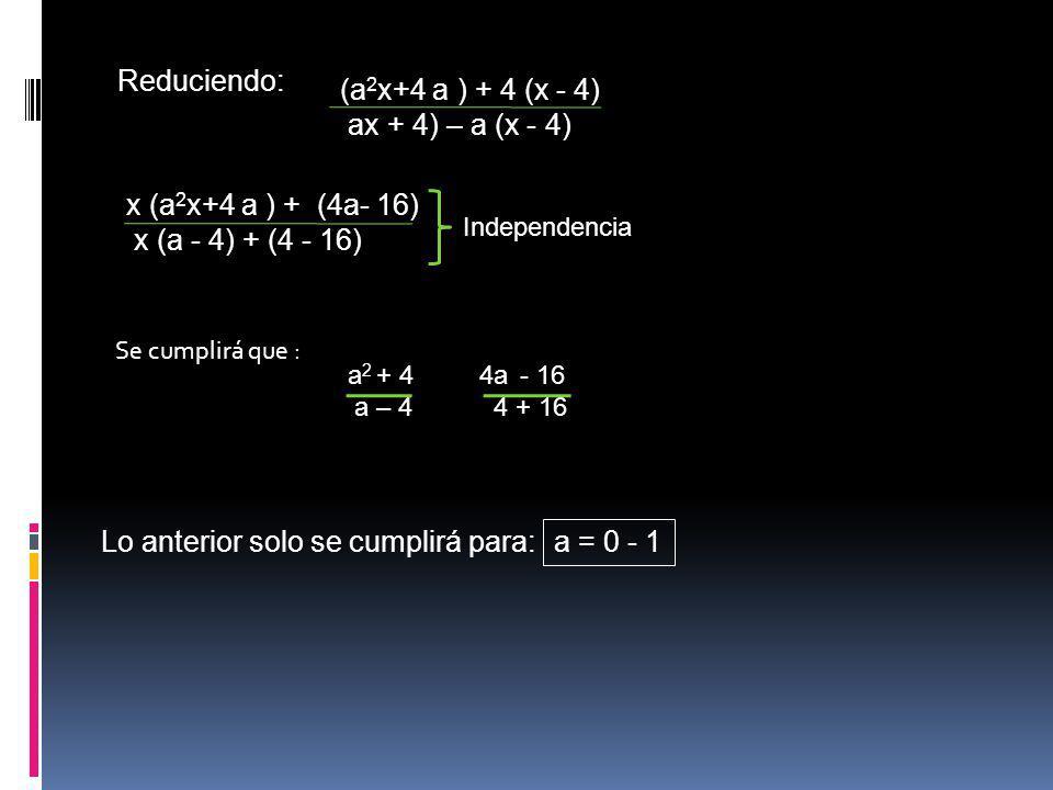 Lo anterior solo se cumplirá para: a = 0 - 1