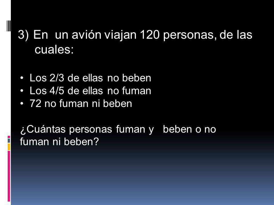En un avión viajan 120 personas, de las cuales: