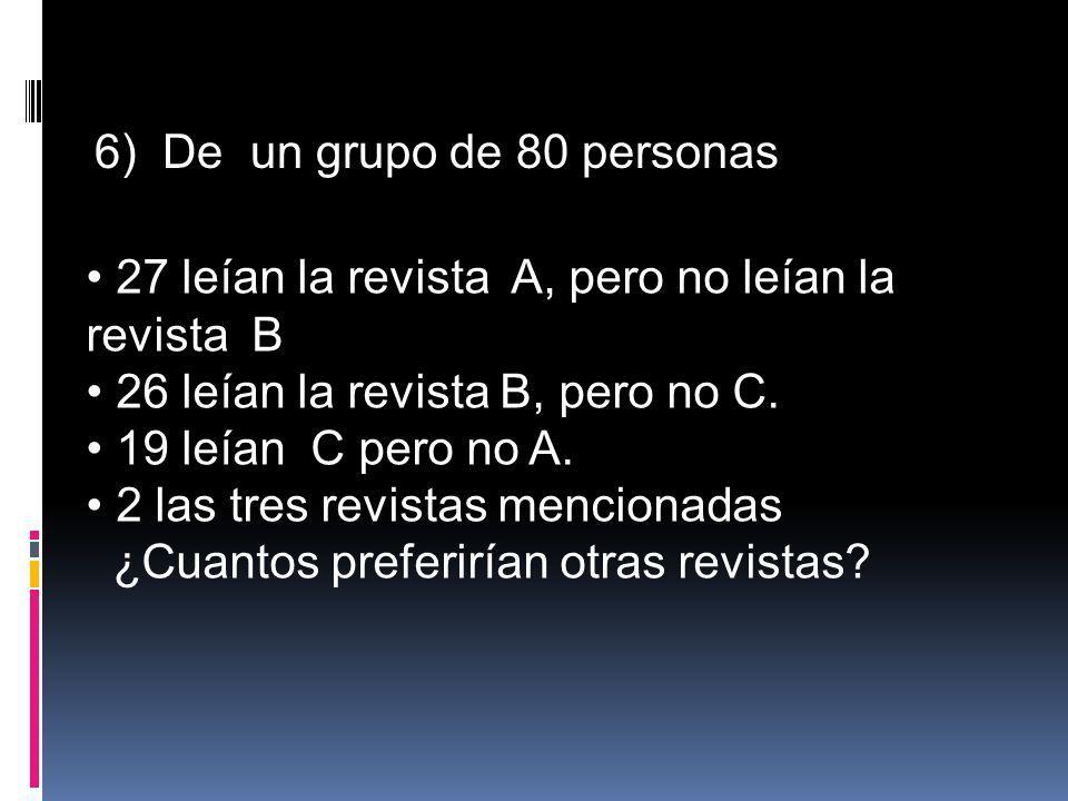 6) De un grupo de 80 personas