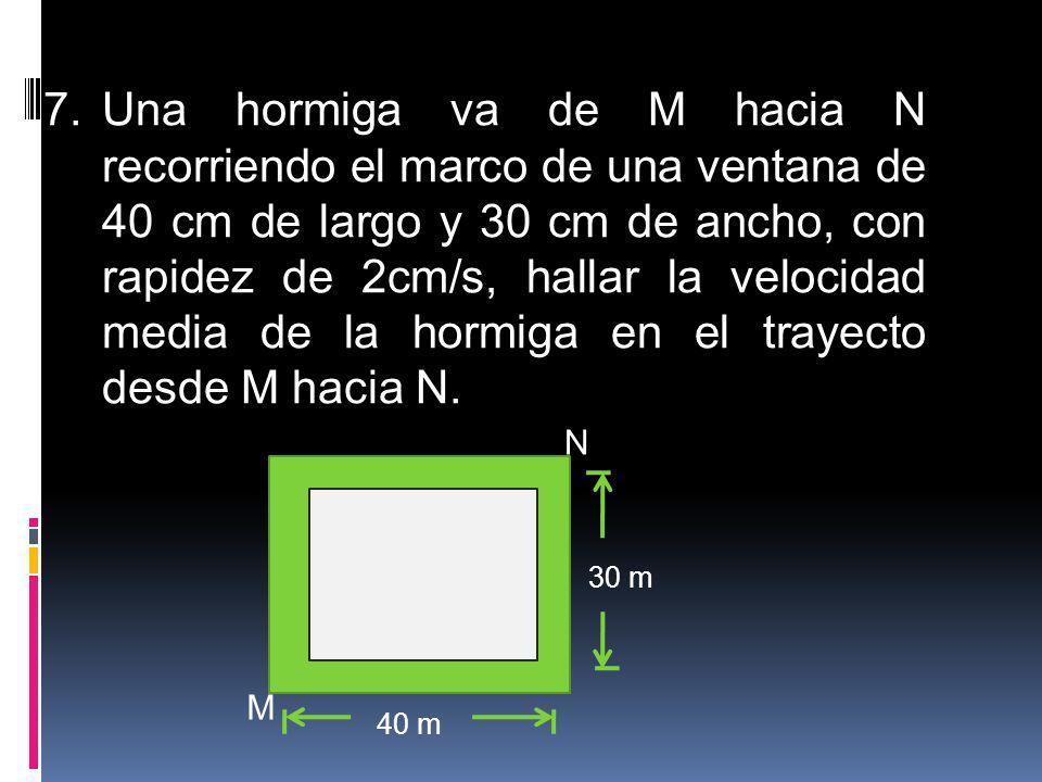 Una hormiga va de M hacia N recorriendo el marco de una ventana de 40 cm de largo y 30 cm de ancho, con rapidez de 2cm/s, hallar la velocidad media de la hormiga en el trayecto desde M hacia N.