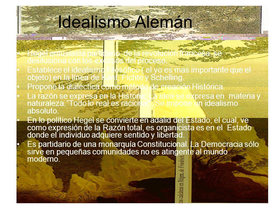 Idealismo AlemánHegel entusiasta partidario de la revolución francesa, se desilusiona con los excesos del proceso.