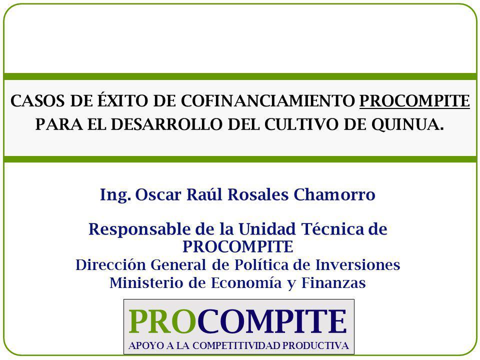 CASOS DE ÉXITO DE COFINANCIAMIENTO PROCOMPITE PARA EL DESARROLLO DEL CULTIVO DE QUINUA.