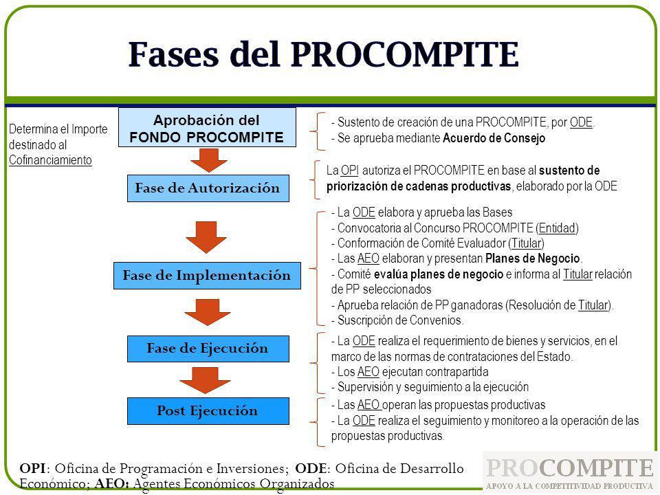 Aprobación del FONDO PROCOMPITE Fase de Implementación