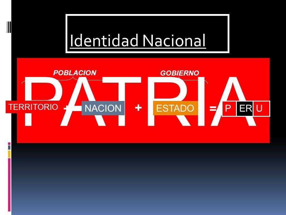 PATRIA Identidad Nacional + + = NACION ESTADO P ER U TERRITORIO