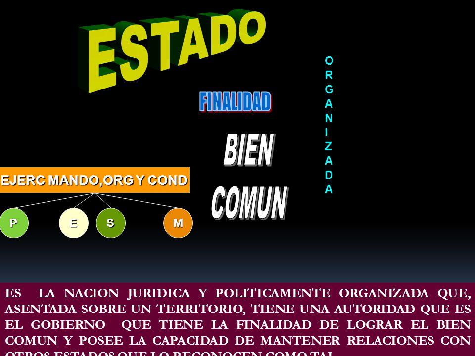 ESTADO FINALIDAD BIEN COMUN EJERC MANDO,ORG Y COND