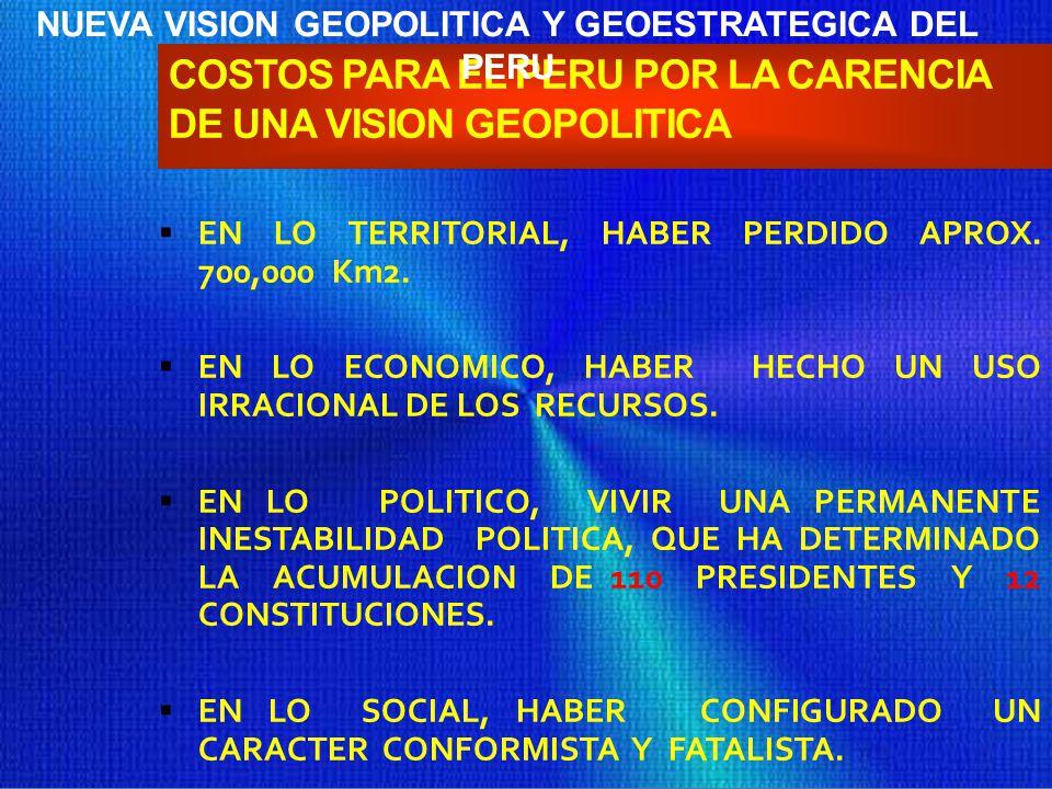 COSTOS PARA EL PERU POR LA CARENCIA DE UNA VISION GEOPOLITICA