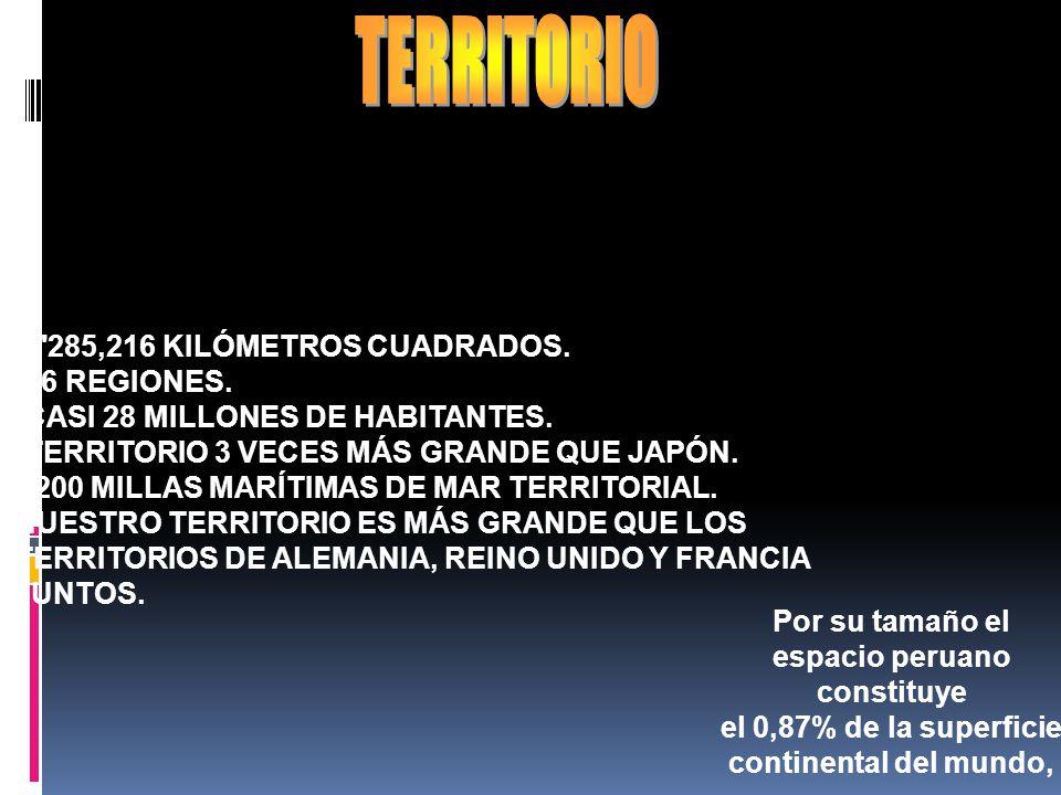 TERRITORIO -1 285,216 KILÓMETROS CUADRADOS. -26 REGIONES.