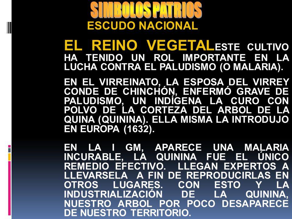 SIMBOLOS PATRIOS ESCUDO NACIONAL. EL REINO VEGETALESTE CULTIVO HA TENIDO UN ROL IMPORTANTE EN LA LUCHA CONTRA EL PALUDISMO (O MALARIA).