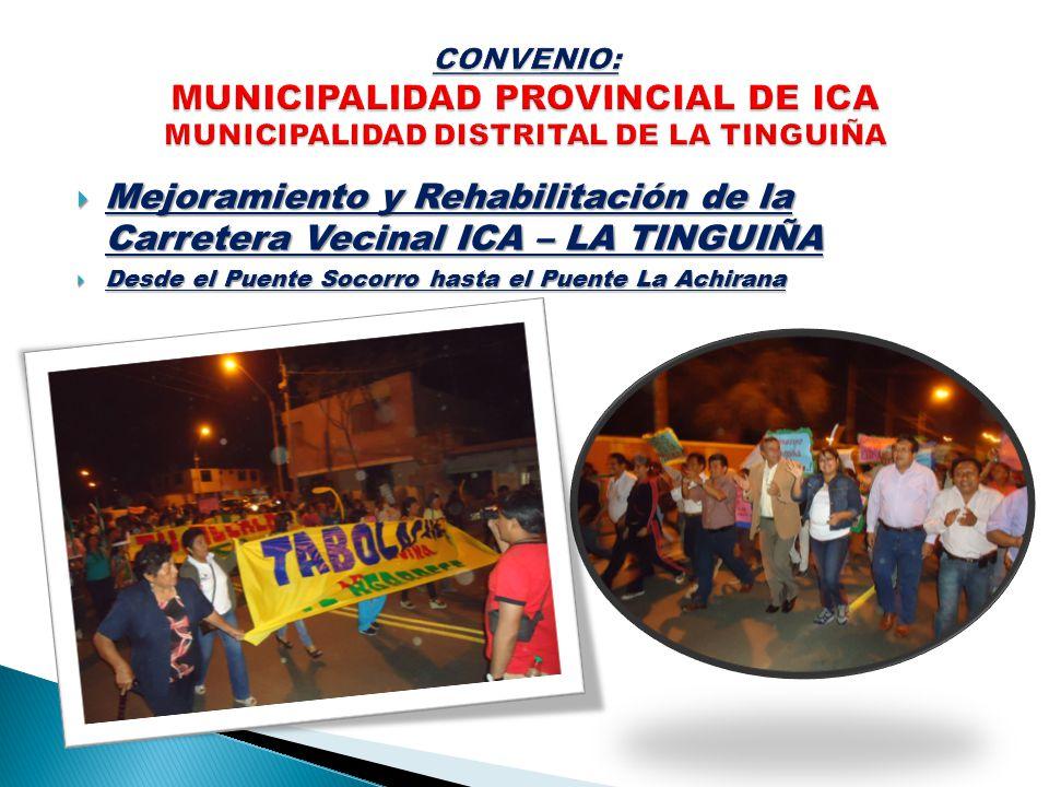 CONVENIO: MUNICIPALIDAD PROVINCIAL DE ICA MUNICIPALIDAD DISTRITAL DE LA TINGUIÑA