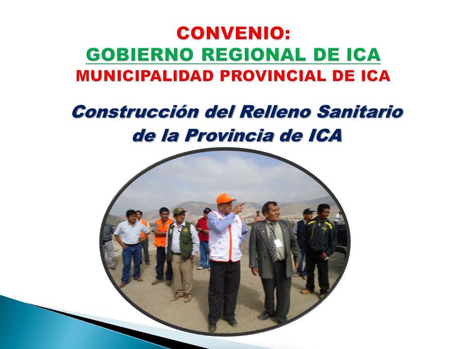 CONVENIO: GOBIERNO REGIONAL DE ICA MUNICIPALIDAD PROVINCIAL DE ICA
