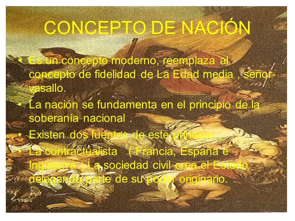 CONCEPTO DE NACIÓN Es un concepto moderno, reemplaza al concepto de fidelidad de La Edad media , señor-vasallo.