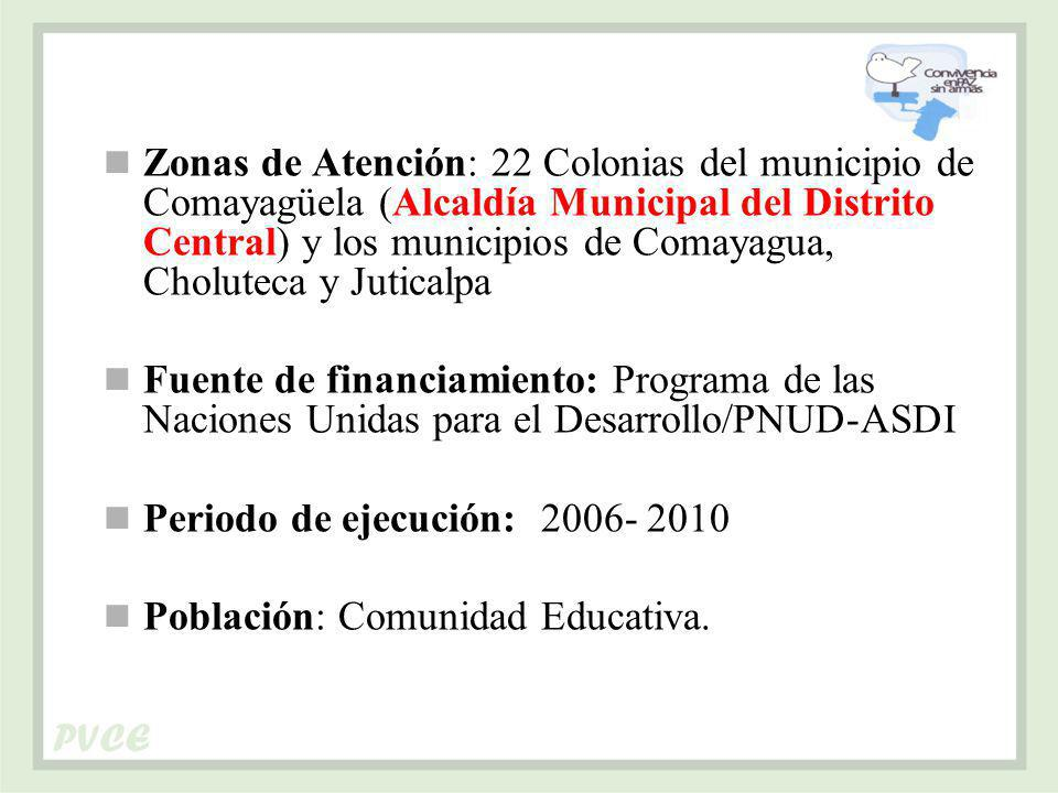 Zonas de Atención: 22 Colonias del municipio de Comayagüela (Alcaldía Municipal del Distrito Central) y los municipios de Comayagua, Choluteca y Juticalpa