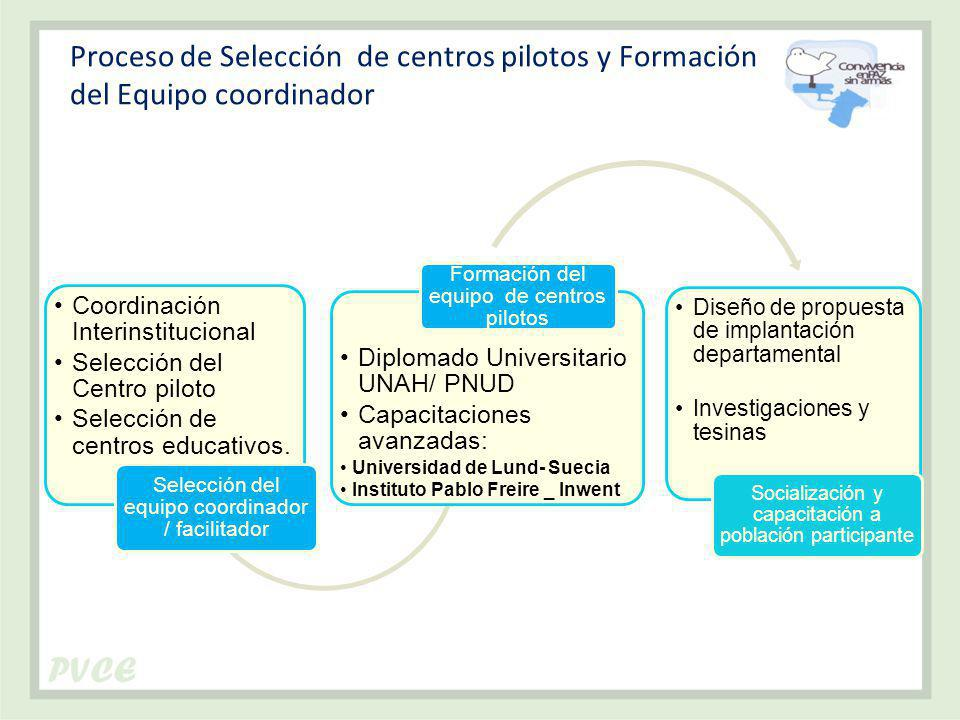 Proceso de Selección de centros pilotos y Formación del Equipo coordinador