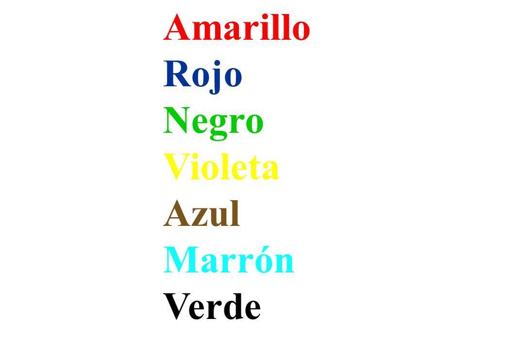 Amarillo Rojo Negro Violeta Azul Marrón Verde