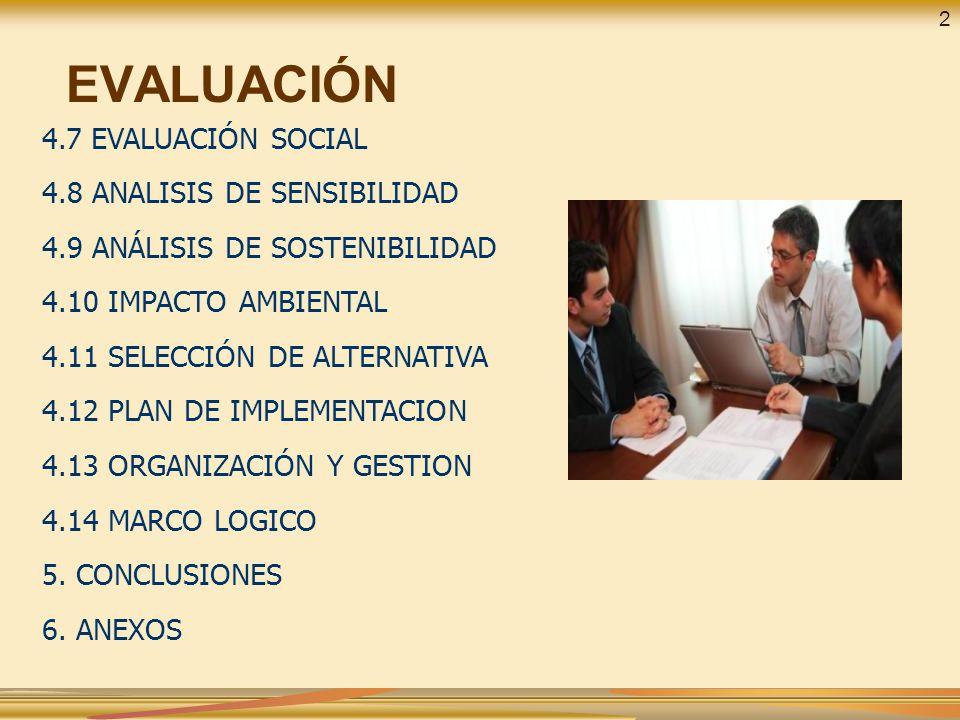 EVALUACIÓN 4.7 EVALUACIÓN SOCIAL 4.8 ANALISIS DE SENSIBILIDAD